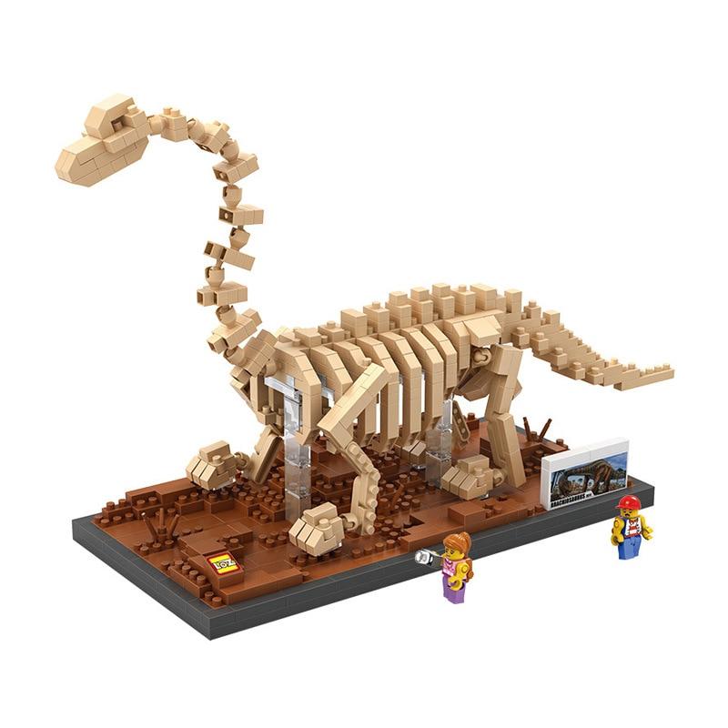 LOZ creator mini diamond building block plastic Jurassic dinosaur skeleton brachiosaurus Fossil nanoblock educational toys model loz world famous architecture nanoblock daming palace china city mini diamond building block model educational toys for kids