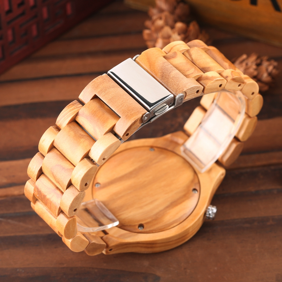 Wooden Watch Men's Creative Red Pointer Green Scale Round Analog Watch Natural Ebony Band Clock Man Fashion Quartz Wristwatches 2018  2020  (21)