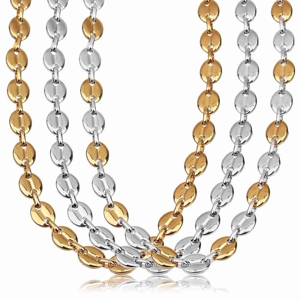 LOULEUR Stainless Steel Oval Coffee Bean Beads Chain Silver Gold Color 55cm Women Men's Chain Necklace for Diy Jewelry Making