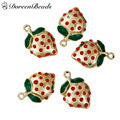 DoreenBeads Zinc Alloy Fruit Charms Pendants Gold Plated Strawberries Red Rhinestone Green Enamel 24mm x 16mm, Hole: 2mm 3 PCs
