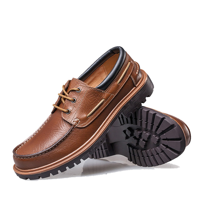 NPEZKGC New 2018 Punk Style Urban Men Leather Shoes Retro Lace Up Hand-Sewing Men Boat Shoes Casual Oxford Shoes