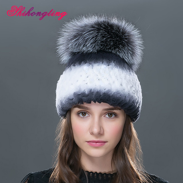 Thicken Rabbit Fur Beanie Hat Colorful Wram Winter Gray Hats Big Hair Ball Female Skullies White Caps High Quality TM-06