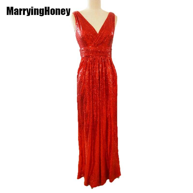 Sequins   Bridesmaid     Dresses   Long Plus Size Sequined Gown for Women Formal Evening Wedding vestidos dama de honor vestido madrinha