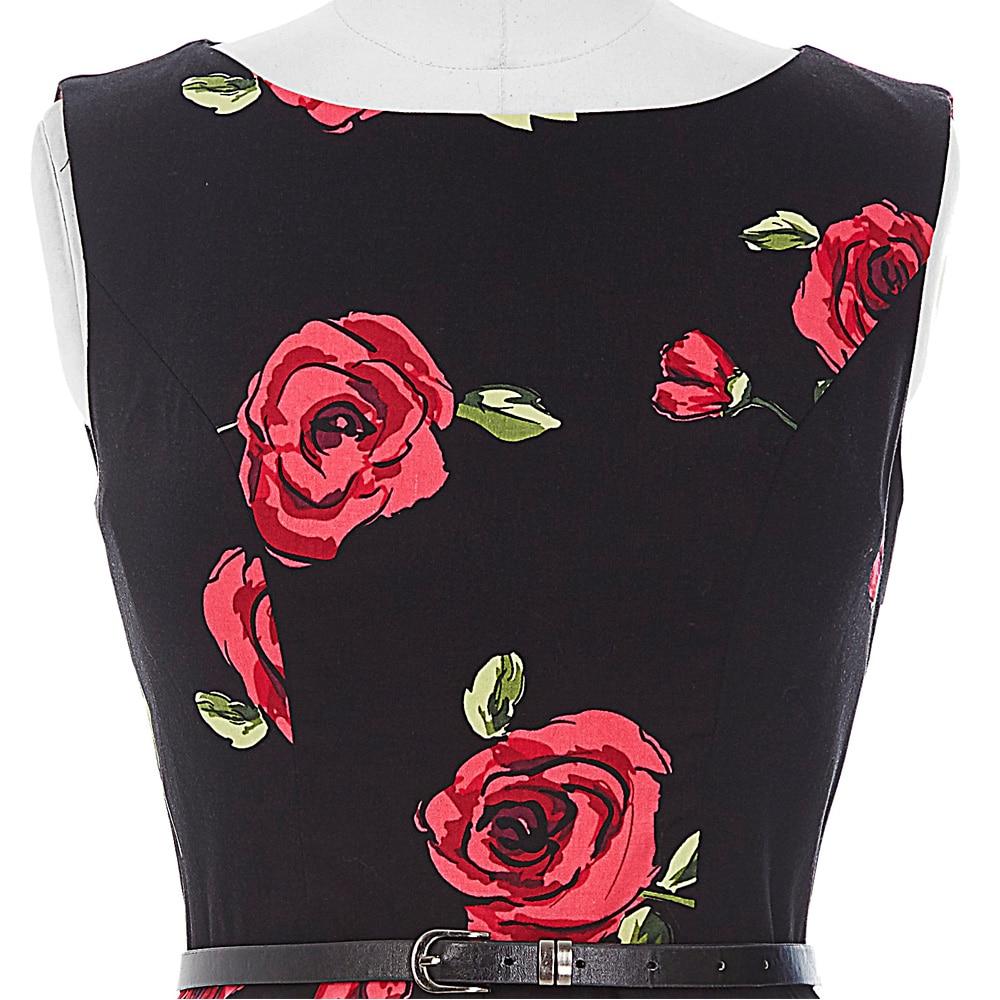 2018 robes d'été femmes pin-up floral rétro robe Dot Rockabilly - Vêtements pour femmes - Photo 5