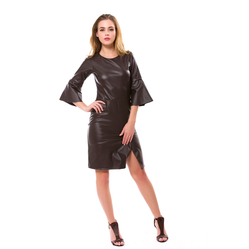 Women\'s Sexy O neck Plus Size Faux Leather Dress Long Mesh Sleeve ...