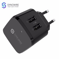 Syncwire Mini USB Wall Charger - 3A 2-Port Fast Charger with US UK EU Plug Travel Adapter for Apple iPhone iPad Mobile phone