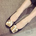 Metal Cap Toe Ladies Shoes Pu Metal Buckle Shoe Glossy Decoration Leather Shoes Women Solid Color Flat Toe Ballerina Gray