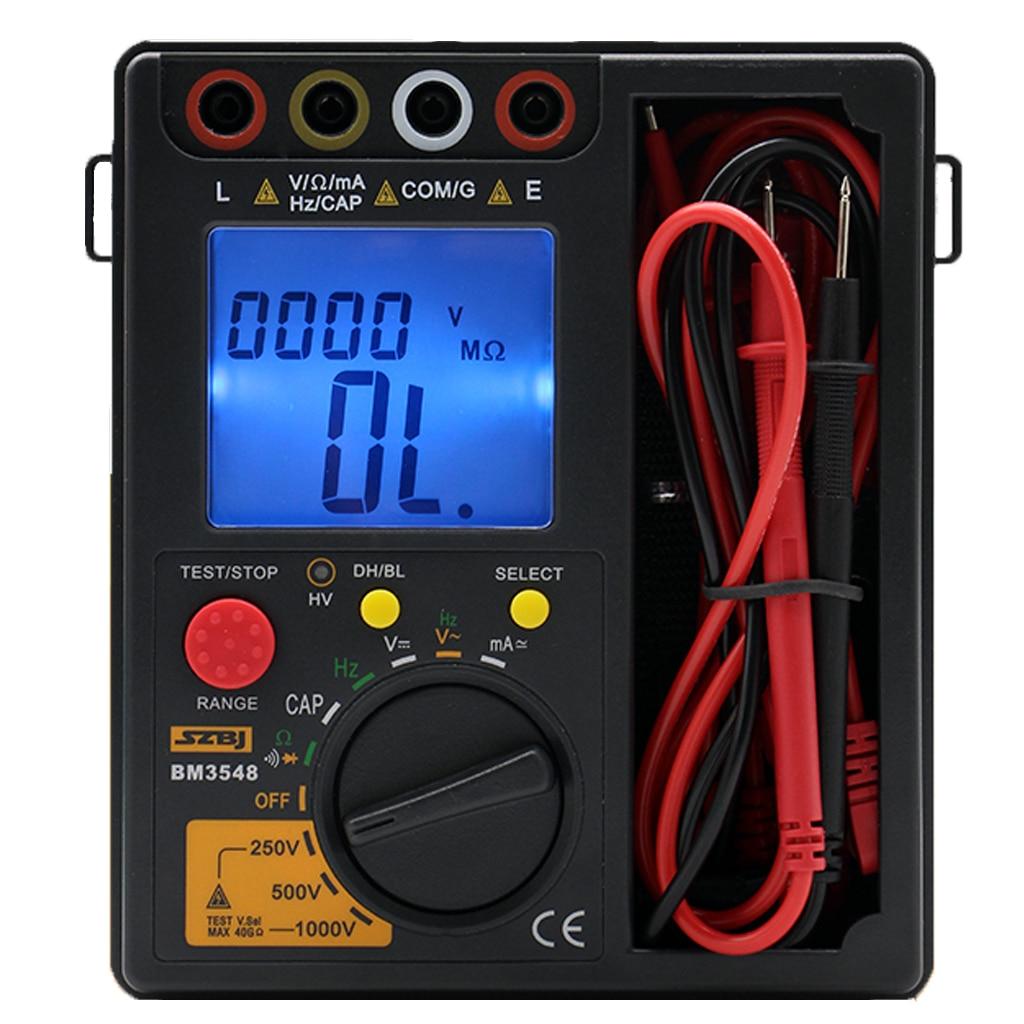 2 em 1 BM3548 1000 v Medidor de Resistência ohm medidor de Teste multímetro digital megger megôhmetro Digital Resistência de Isolamento tester