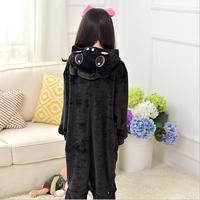 Autumn Winter Cute Funny Black Piggy Cartoon Flannel Animal Onesie Pajamas Unisex Children Boy Girl Cosplay