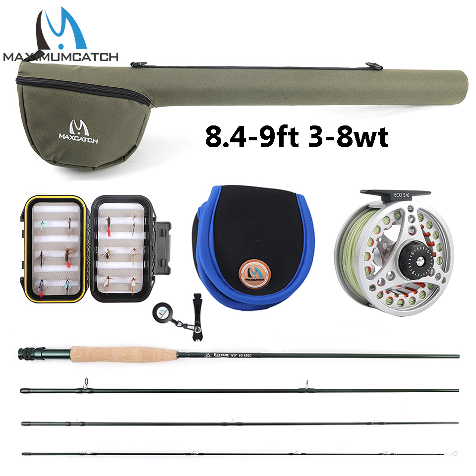 Maximumcatch Extreme 8 / 9FT 3-8WT Mellemhurtig Carbon Fiber Fly Rod med Graphite Reel & Fly Line & Tackle Box Triangle Tube