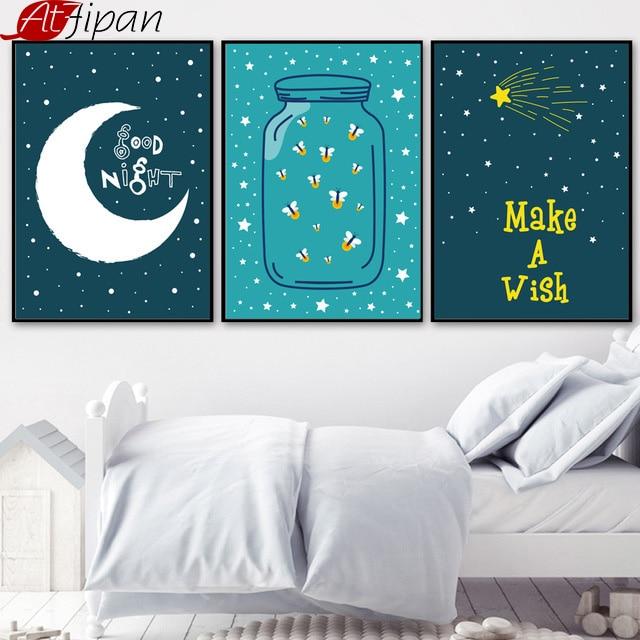 Atfipan Minimalistische Moon Star Wall Art HD Gedrukt Ingelijst - Huisdecoratie