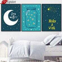 Atfipan Minimalistische Moon Star Wall Art HD Gedrukt Ingelijst Canvas Schilderij Cartoon Poster Pictures Voor Nursery Babykamer Decor