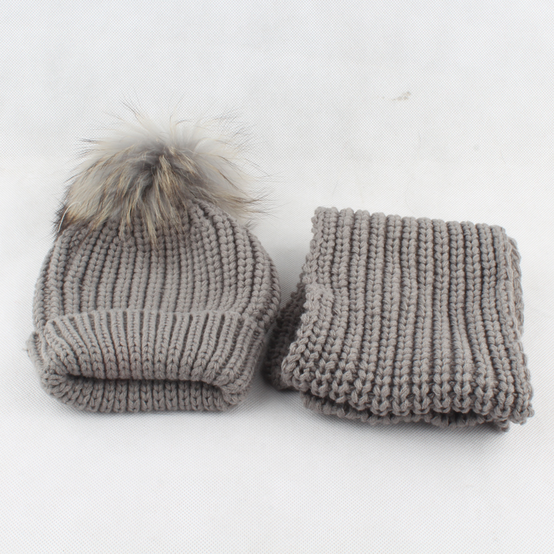 c3381bc47bfd4e 3 10 age Children Real Fur Pompom Winter Warm Hats For Boys Girls Pom Pom  Beanie and scarf Cotton Knitted Baby Hat Scarf Set-in Scarf, Hat & Glove  Sets from ...