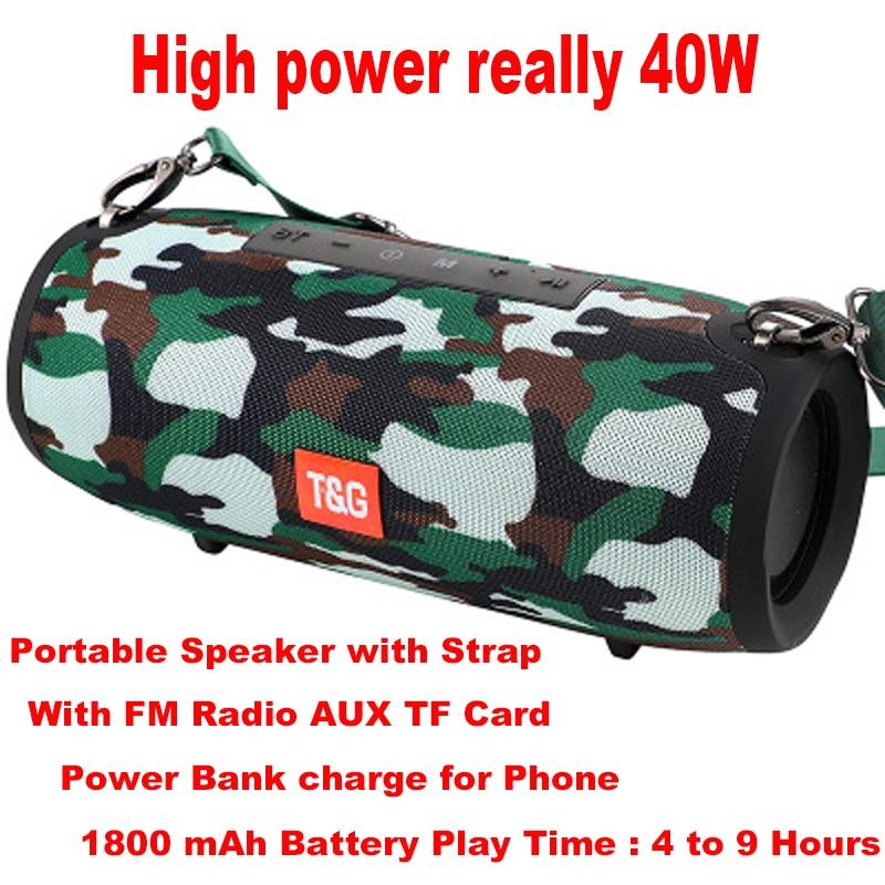 Vraiment 40W Bluetooth haut-parleur Portable colonne lecteur de musique système de son Boom Box avec Radio FM Aux TF Subwoofer Dolube TG 125