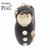 Boutique De FGG Famous Brand Russian Doll Women Fashion Handbag Acrylic Evening Wristlets Bag Hardcase Party Dinner Clutch Purse