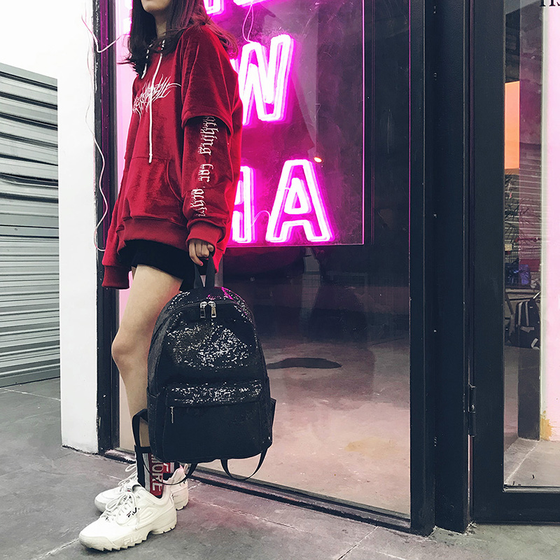 Sequin bag female Korean version of the new backpack large capacity simple student backpack travel backpack