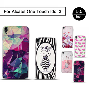 Painting zebra Fish Flower Soft Silicone Phone Back Cover Case For Alcatel One Touch Idol 3 5.5 Case 6045 6045Y 6045K Shell Gel image