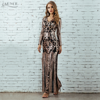 Runway Long Sleeve Sequin Sexy Maxi Evening Celebrity Evening Party Dress