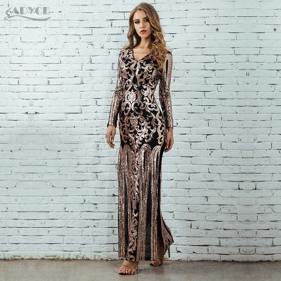 8003dcf329e ADYCE Women Bodycon Dress Vestidos Verano 2019 Luxury Runway Long Sleeve  Sequin Sexy Maxi Evening Celebrity