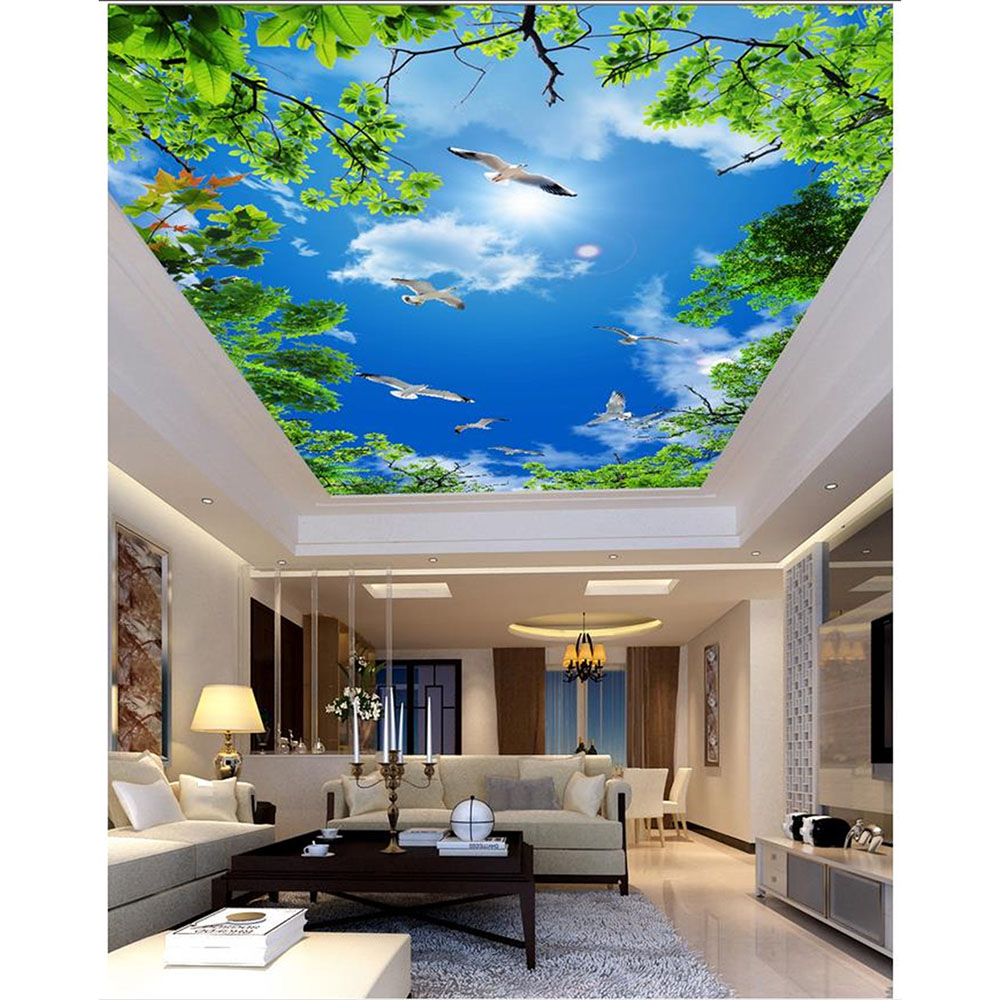 3D Custom Murals DIY Ceiling Wallpaper Room Non Woven
