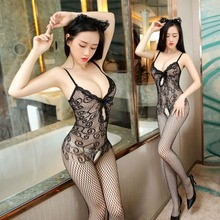 Explosive Sexy Appealing Sexy Lace Hem Strap Front Hollow Thread Jacquard Teddies & Bodysuits One Piece Netting black sexy lace up hollow front slit hem mini dress