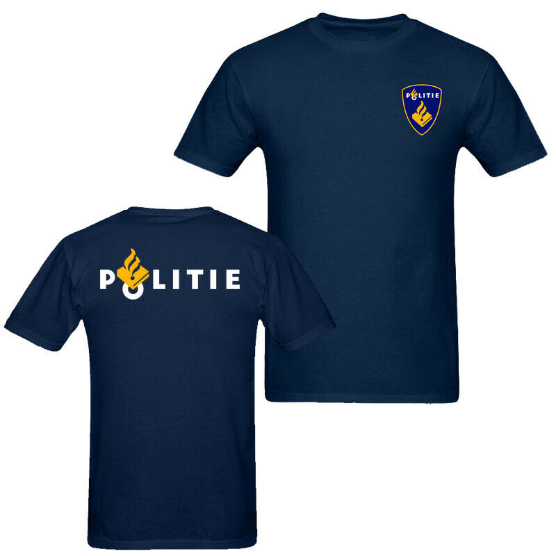 2019 Fashion Double Side Netherlands Politie Police Men'S T Shirt Navy Blue Unisex Unisex Tee