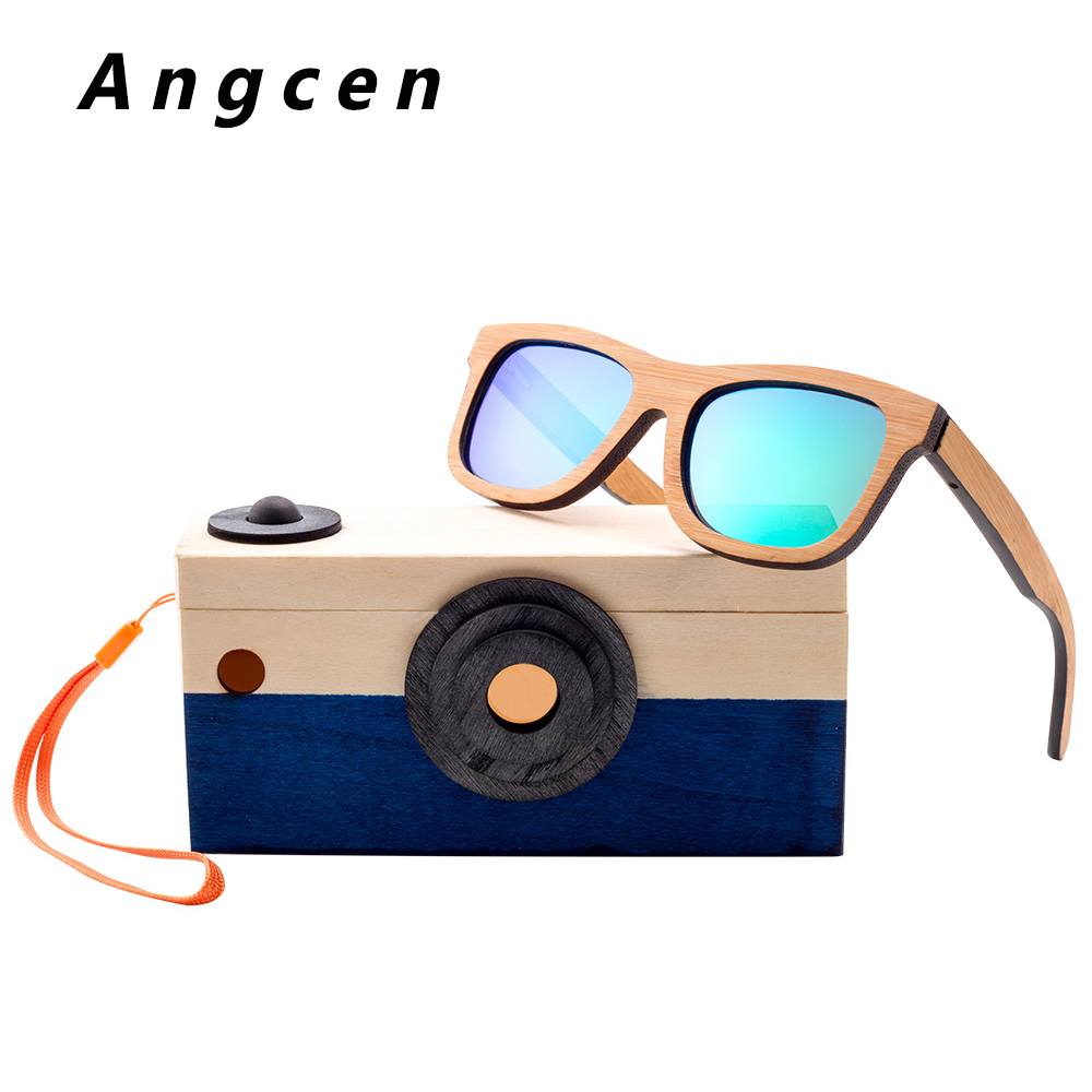 Angcen Children Sunglasses Polarized Brand Design Wooden Sunglasses for Child Girls Boys Square Eyewear in Fahion Toy Box UV400