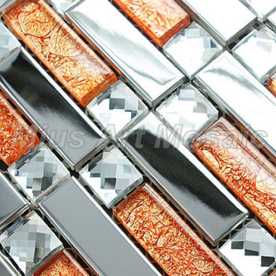 strip silver stainless steel mixed orange glass art mosaic tile kitchen mosaic for kitchen backsplash a47614