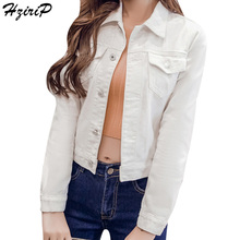 HziriP Jackets Denim Basic Short Coats Solid White Women Jeans Jackets Outerwear Long Sleeve 2017 Autumn Slim Ladies Clothing