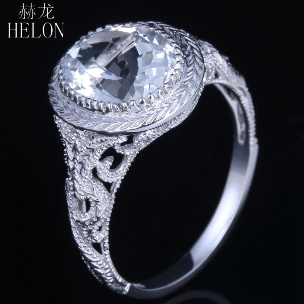 HELON 2.83ct 100% Genuine White Topaz Oval Cut 10x8mm Sterling Silver 925 New Vintage Art Deco Gemstone Engagement Jewelry Ring серьги art silver art silver ar004dwzmh30