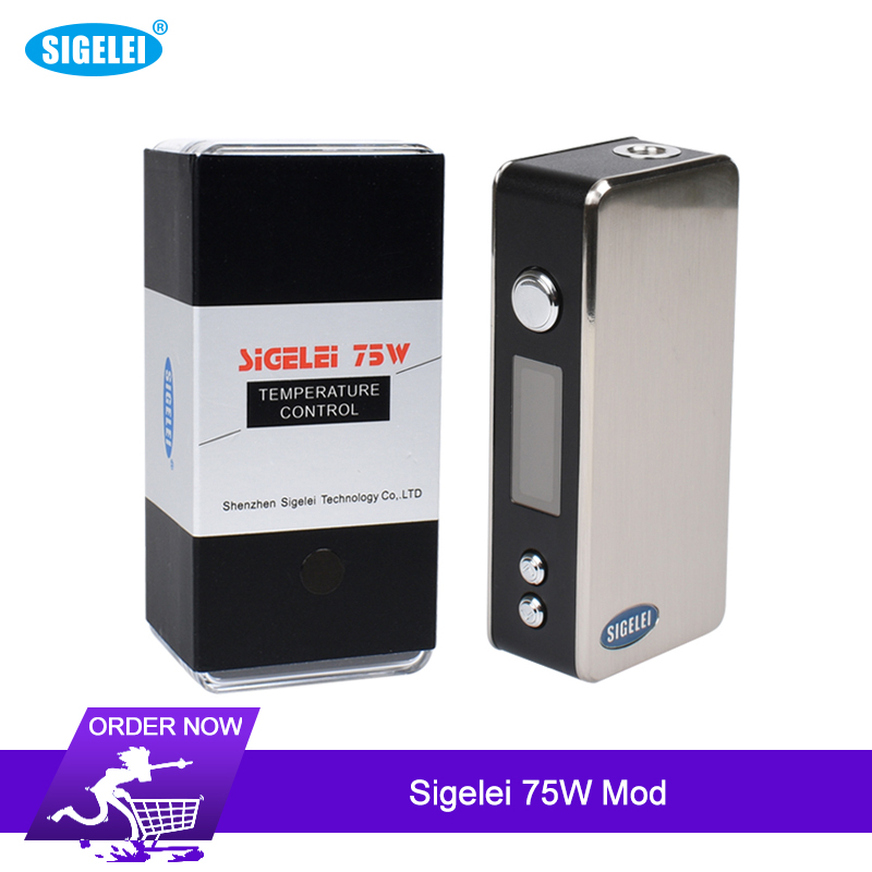 Original 75W Sigelei Box Mod Electronic Cigarette Box Mod Support Power Temp Modes 510 Thread Without