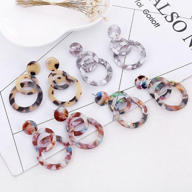 Korean Geometric Double Round Earrings Acrylic Acid Long Dangle Earrings Ear Stud For Women Girl Jewelry Gifts 4 Colors in Drop Earrings from Jewelry Accessories