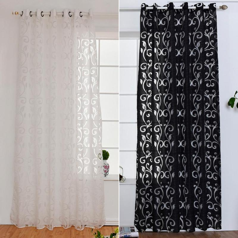 Window Curtains For Living Room Jacquard Fabrics Luxury Semi-blackout Panel Curtains Short Black White Curtain