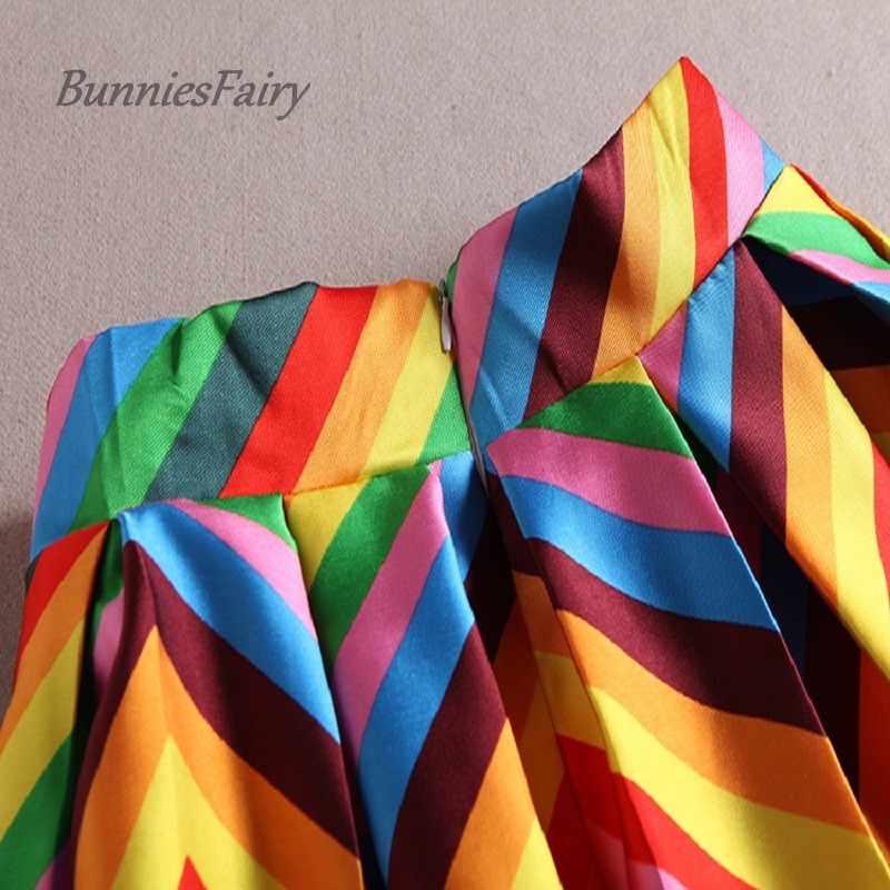Bunniesfairy длинное летнее платье для девочек милое Полосатое платье-пачка цветов радуги для печати Высокая Талия Плиссированная Юбка-миди Femininas каникулы, отпуск