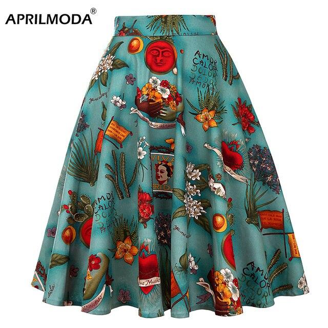 ad8509d25 € 8.87 40% de DESCUENTO|Falda Midi de mujer de pasarela Vintage Rockabilly  mujeres Pinup 50 s 60 s algodón plisado faldas de cintura alta Pinup ...