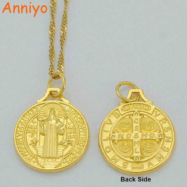 Anniyo Saint Benedict Medal Pendant Necklace Gold Color Catholic
