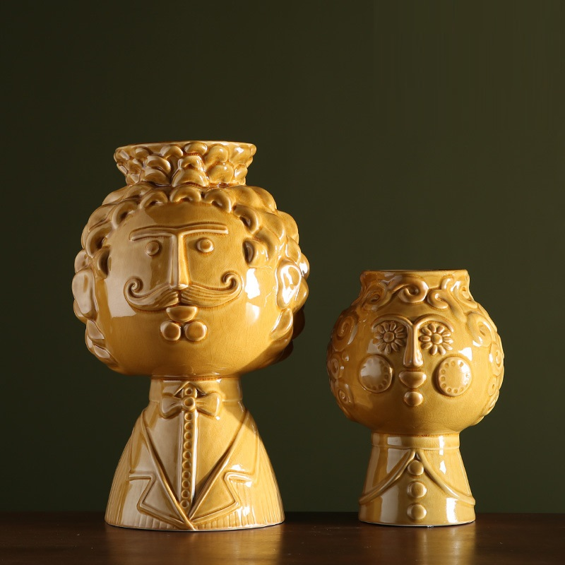 Rilievo In Ceramica Vaso di ceramica Creativa Sorriso Barba Uomo Viso Vaso Vaso Complementi Arredo Casa di Arte Del Fiore Vasi Da Fiori Fioriere R985 - 3