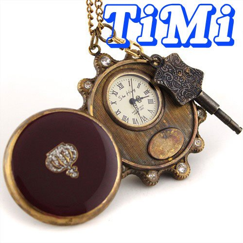 Wholesale Unisex Vintage Copper Pocket Watch Mechanical Key-Wind Freeship