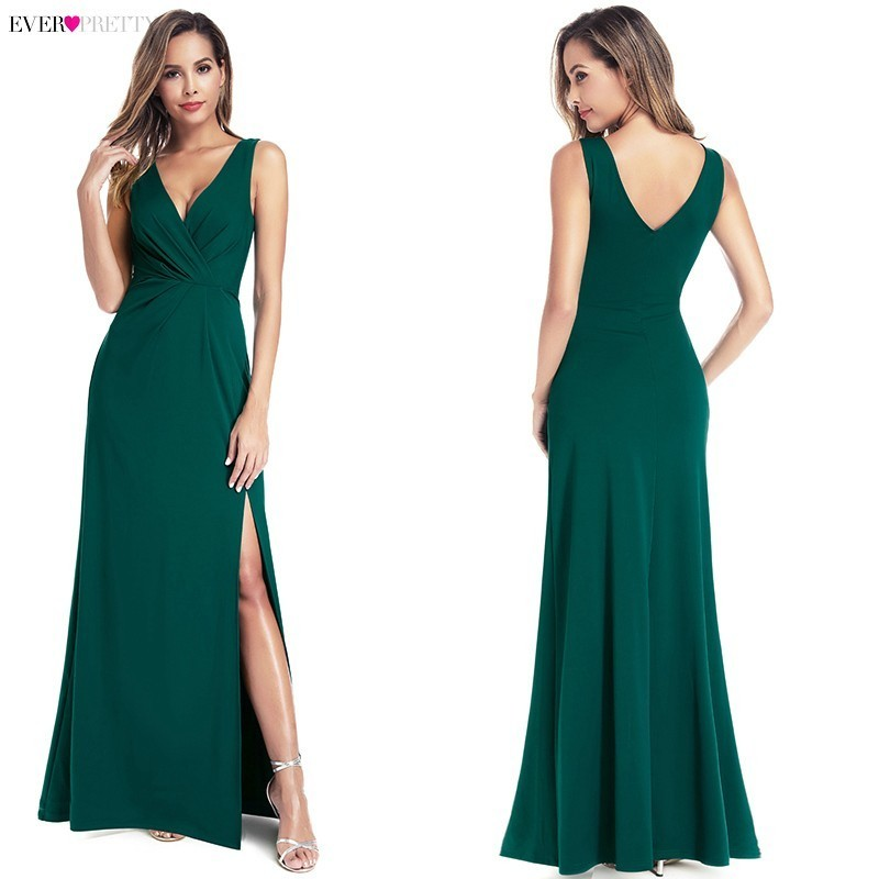 Image 4 - Black Prom Dresses 2020 Ever Pretty Mermaid Sleeveless V Neck High Split Ruffles Elegant Women Evening Party Dresses Gala JurkenProm Dresses   -