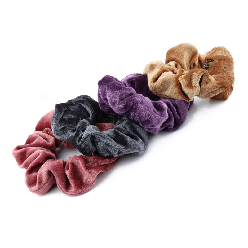 Velvet Solid Elastic Ponytail Holder Scrunchies Tie Hair Rubber Band
