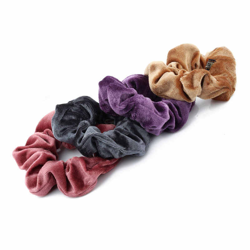 1PC Women Elegant Velvet Solid Elastic Hair Bands Ponytail Holder Scrunchies Tie Hair Rubber Band Headband Lady Hair Accessories