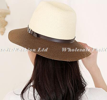 be214cd4f95dde Wholesale Nice Designer Block Color Paper Straw Fedora Hats Women Summer  Trilby Hat Ladies Sun Fedoras Cap Womens Trilbys Caps-in Fedoras from  Apparel ...