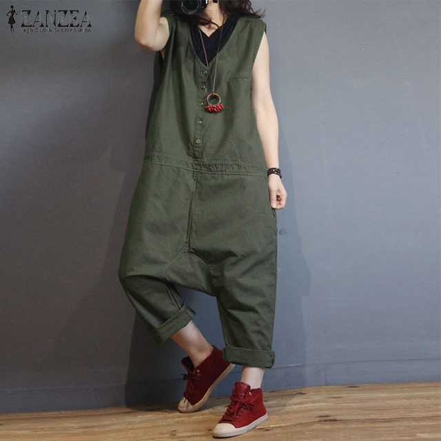 2b6f0f01057 2018 ZANZEA Women Casual Vintage Sleeveless Solid Harem Pants Rompers Loose  Jumpsuits Summer Cotton Linen Drop Crotch Overalls-in Jumpsuits from Women s  ...