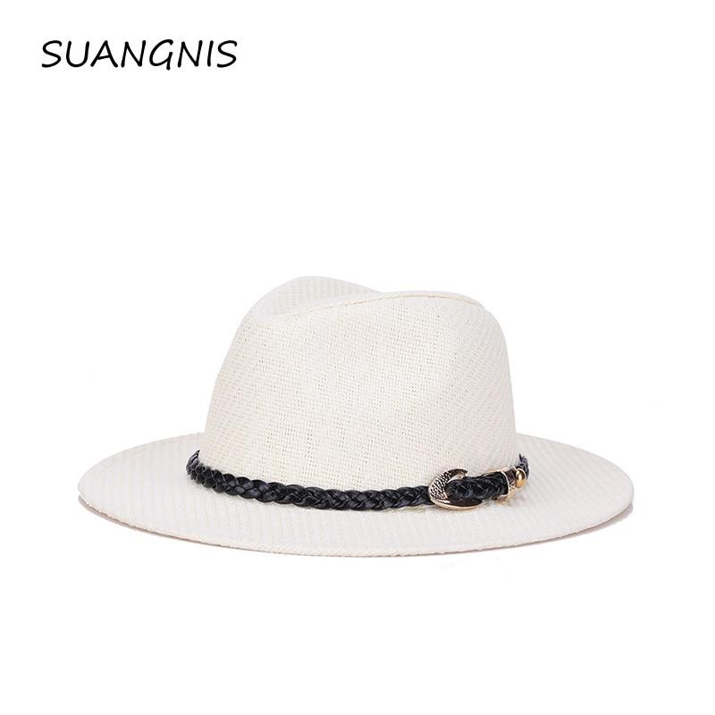 Шляпа соломенная для мужчин и женщин в стиле джаз, летняя кепка с тентом из льна, Кепка в Европейском стиле, Повседневная пляжная шляпа для улицы, 2019