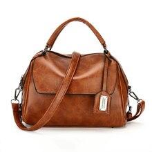купить Handbag Women Handbag Oil wax skin Messenger Bag Bags Women's Shoulder Bag Lady Boston bag Luxury Designer Brand Female Handbags по цене 1217.3 рублей