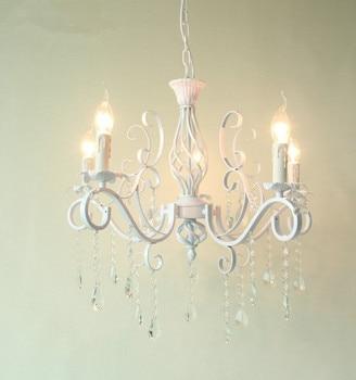 Винтажная люстра из кованого железа, белая Потолочная люстра E14, свечные светильники, осветительный прибор