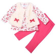 3PCS Set !!!!Newborn baby Girl Smart White Floral Waistcoat Jacket + Pants + Shirts Autumn Winter clothes Outfits sets Suit