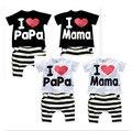 Розничные новые летние детская одежда группа мальчиков и девочек Я люблю мама и папа короткая куртка и брюки костюм ребенка пижамы наборы