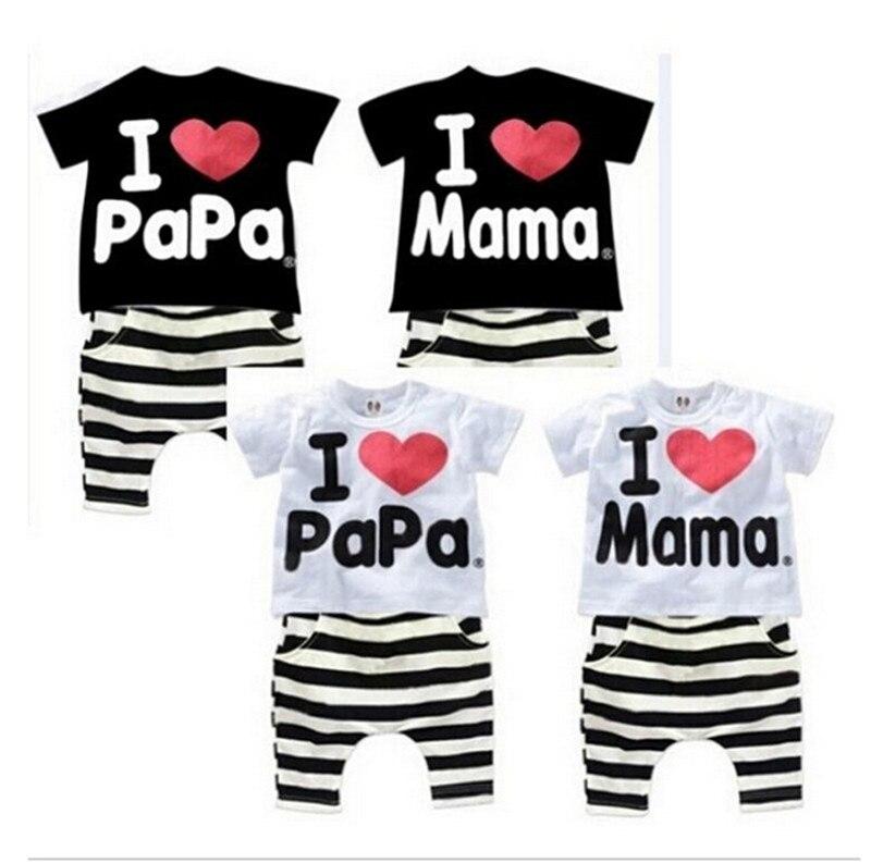 Perakende yeni yaz çocuk giyim grubu erkek ve kız seviyorum anne ve - Çocuk Giyim - Fotoğraf 2