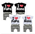 Retail new summer children's clothing group boys and girls I love mom and dad short jacket and pants suit baby pajamas sets